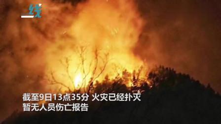 江西景德镇发生森林大火 过火面积20公顷熊熊山火映红夜空