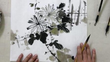 小品菊花画法,及题款位置,国画中合理留白更美观