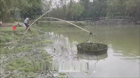 捕鱼现在都不流行撒网了,男子这操作简单易学!