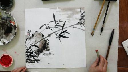 中国画水墨竹子画法,及提款位置,画面充实有韵味