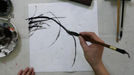 中国画水墨兰花画法,看似简单,实则需要数年绘画经验