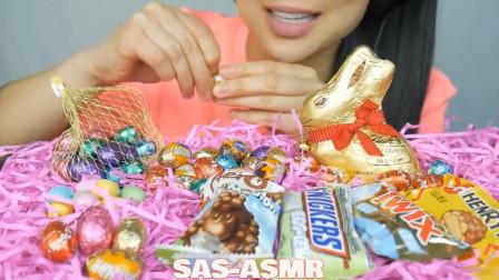 国外美女吃播:微笑姐的复活节巧克力,看起来真馋人!