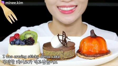 小仙女吃播精致奶酪蛋糕,吃相真好看!