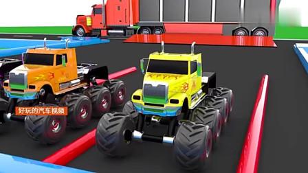 彩色大卡车运来超酷的彩色越野卡车