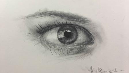 1、素描入门人物眼睛快速浏览—青雨素描-素描零基础