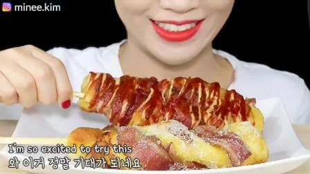 小仙女吃播芝士热狗,吃起来真好看!