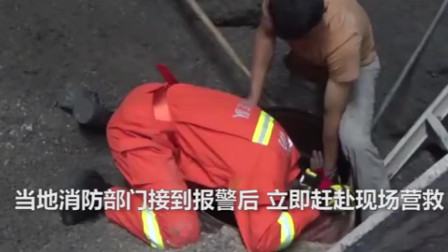 工人掉进进料口 石料堆突然坍塌,只剩脑袋露在外面消防紧急救援