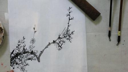 中国画水墨梅花画法,花蕊百里透红,层次分明有意境