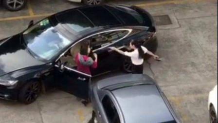 两特斯拉女司机斗气,动手打架不解气,开着豪车互撞,网友:有钱就是任性