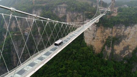 无人驾驶巴士挑战张家界大峡谷玻璃桥,外挂悬浮魔术师!