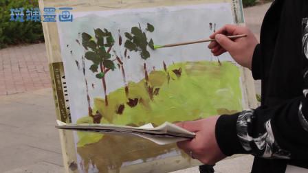 户外油画写真第四步,用光绿色画树叶