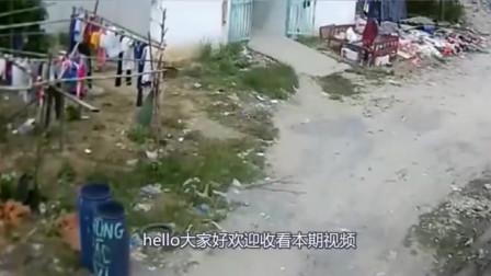 无语一幕被拍下,女子丢完垃圾来到晾衣处,下一秒不对劲了