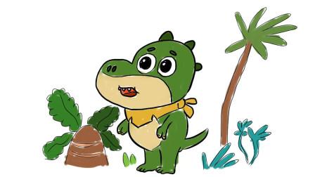 宝宝巴士动画中来自侏罗纪世界的小恐龙卡通简笔画
