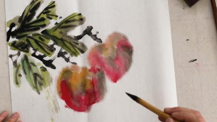 毛笔画初学者教程,水墨寿桃简单画法,中国传统文化艺术