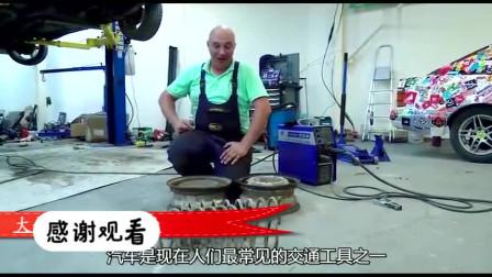 因为路太烂,外国大叔自制弹簧轮胎,这造型你是认真的吗?