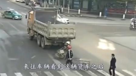 如果不是监控拍下,都不知道它有多可恶,大货车停在路中间