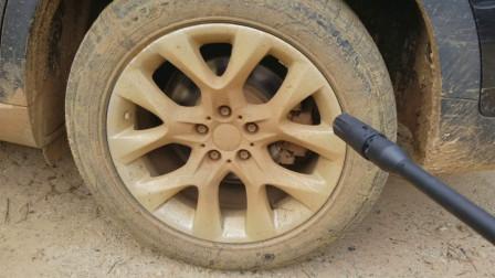 高压水枪威力有多大?老外用来洗车胎,接触的瞬间简直太过瘾了!