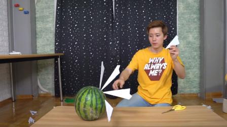 用纸飞机能切开西瓜吗?外国小哥上演逆天操作,网友:小李飞刀?