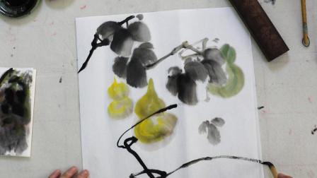 中国画水墨葫芦娃,枝干画法乱中有序,初级国画欣赏