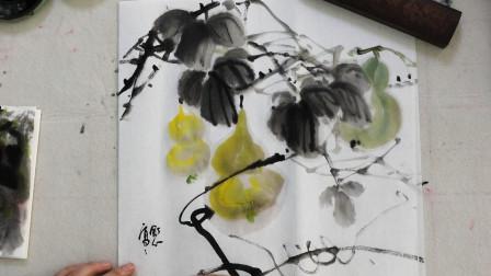 中国画水墨葫芦画法,初级国画教程,枝叶错乱有序