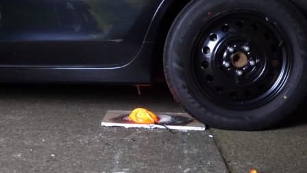 汽车碾压岩浆,你猜结果会怎样?睁大眼睛看仔细!