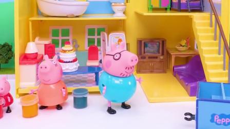 猪爷爷的小火车带来了彩笔和颜料 快来和佩奇一起画画吧