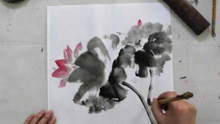 初级国画教程视频,水墨荷花第一节,绘画艺术欣赏