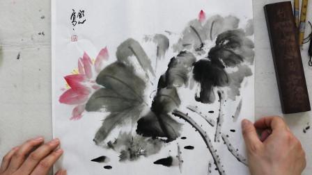 中国画水墨荷花画法,初级绘画教程,国画艺术欣赏