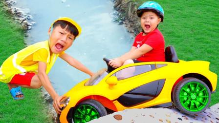 儿童玩具:小朋友试驾儿童起跑玩具车!
