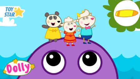 小便羊 孩子们的卡通 小羊羔卡通 在海洋冲浪 第24集