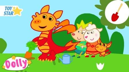 小羊 大胡萝卜 卡通羊 孩子们的卡通