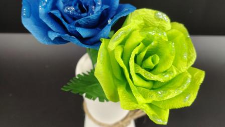 纸藤玫瑰精细学习,小小纸绳也能做出如此精美花艺、