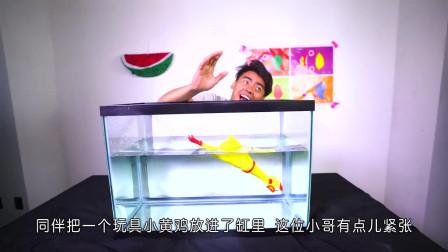 水箱里到底是什么?国外小哥玩未知盒子游戏,结果被自己逗笑了!