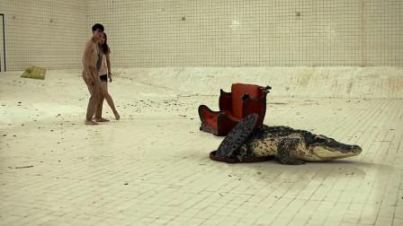 几分钟看完泰国惊悚电影《鳄口逃生》,小情侣和一条鳄鱼困在6米深泳池,险象环生