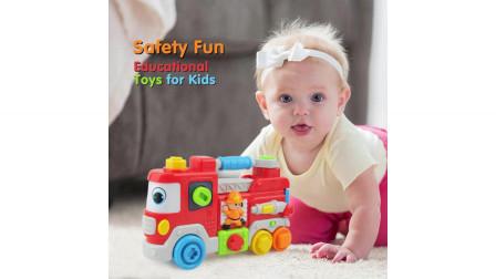 灯光和音乐男孩消防车玩具惯性建筑玩具卡车