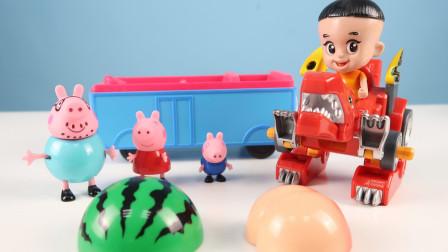 猪爸爸带小猪佩奇去野餐,遇到了凶猛的怪兽鳄鱼