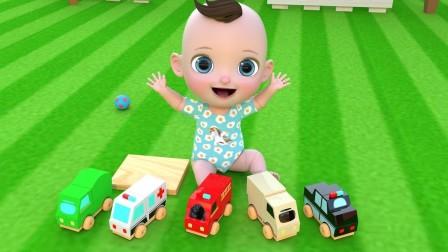 可爱的宝宝视频和玩具车和玩具火车和玩具积木