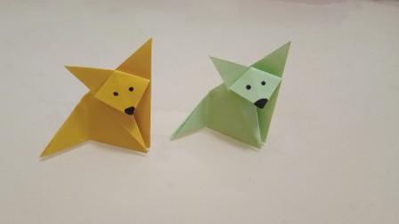 超级简单可爱的折纸小狐狸,详细步骤解说,一张小正方形纸就够了
