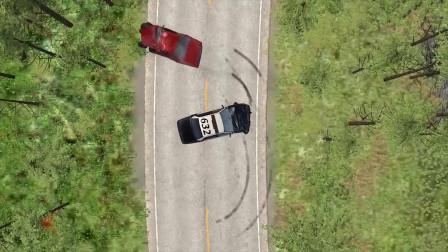 车祸模拟:自上而下警察追逐模拟测试