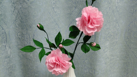 趴在墙上的蔷薇花,制作挺简单,教你一学就会