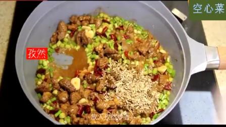 美食食谱:蒜台孜然牛肉的家常做法,味美鲜嫩,以后不用去饭店了