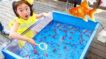 宝蓝儿童亲子萌宝乐园!小萌宝用玩具钓鱼竿钓鱼!