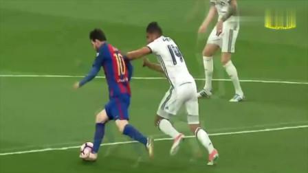 梅西经典过人,想单人防梅西,就会被他晃倒在地,马塞洛也看不住