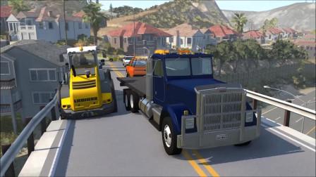 车祸模拟:倒塌的桥梁车祸事故模拟