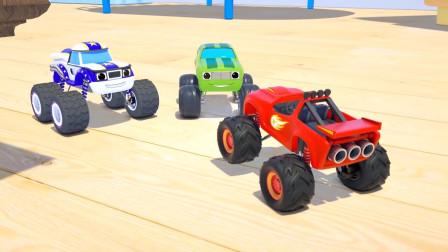 3个闪电麦昆一起玩足球,儿童挖掘机动画