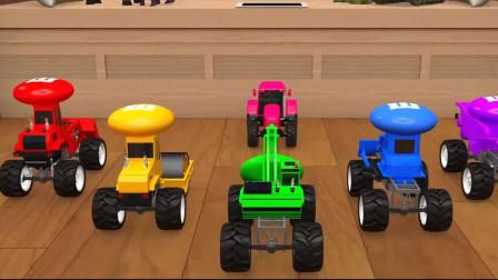 工程车益智卡通:彩色的挖土车铲车收集糖果