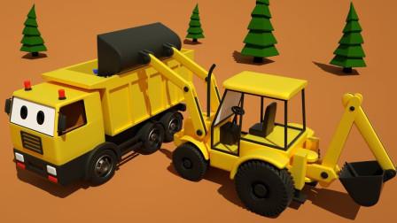 挖掘机和自卸卡车儿童游乐场滑梯施工卡车
