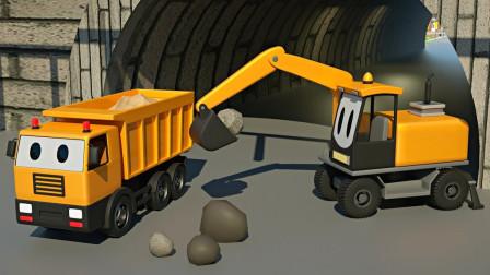 挖掘机、自卸卡车、推土机和儿童搅拌车一起帮助修理桥梁