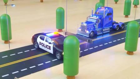 警车直升机救援搅拌车建大桥