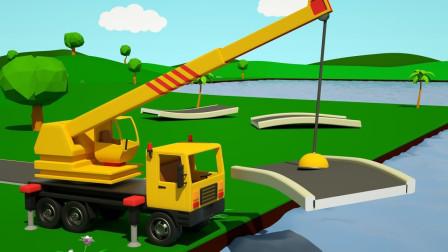 吊车,起重机,卡车,自卸车和儿童搅拌车建造大桥
